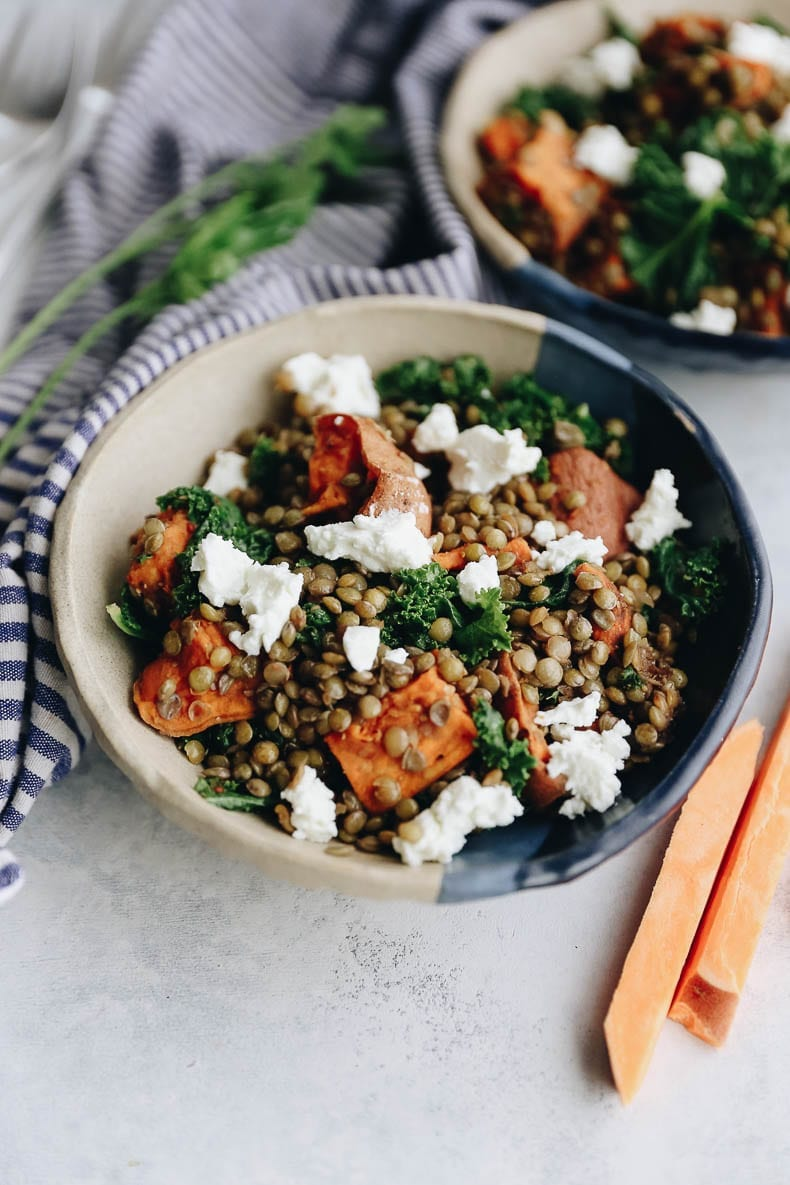 Eat the rainbow with this warm lentil and sweet potato salad with sauteed kale and a goat cheese and balsamic dressing #glutenfree #lentilsalad