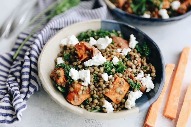 Warm Lentil and Sweet Potato Salad with Goat Cheese, Kale and Balsamic Dressing