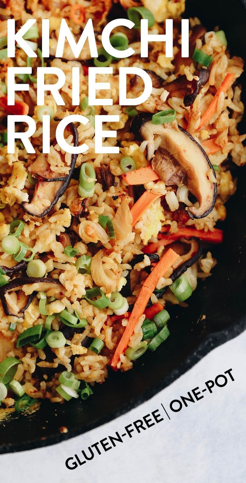 Get in your fried rice kick with an added nutritional boost in this healthy kimchi fried rice. A perfect easy weeknight dinner or enjoy as leftovers for lunch the next day! Plus only one-pan required. #kimchi #friedrice #healthy