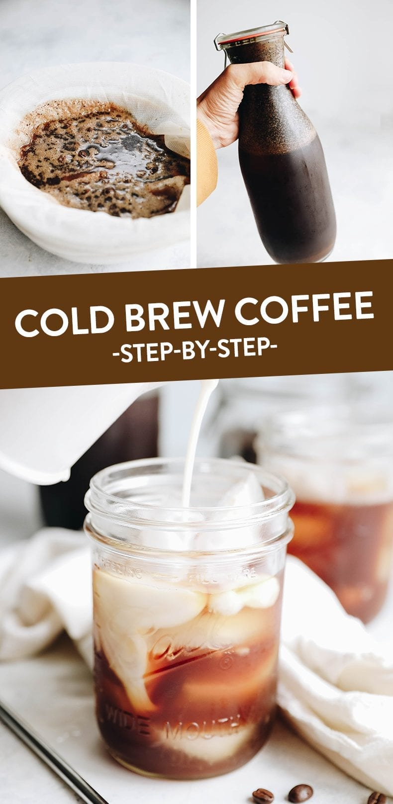 Start cold-brewing your own coffee for the best iced coffee ever! This easy step-by-step recipe tutorial makes cold-brew iced coffee in 12 hours! #coldbrew #coffee