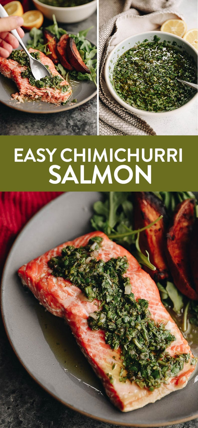 Easy and healthy this Baked Chimichurri Salmon is ready in 20 and perfect for a weeknight meal! #healthy #chimichurri #salmon