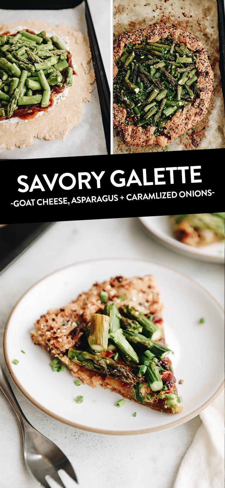 Get a taste of summer with this savory galette recipe with goat cheese, asparagus and caramelized onions. Made with a spelt crust and savory veggie goat cheese base for a delicious meal the whole family will enjoy. #galette #summergalette #savorygalette