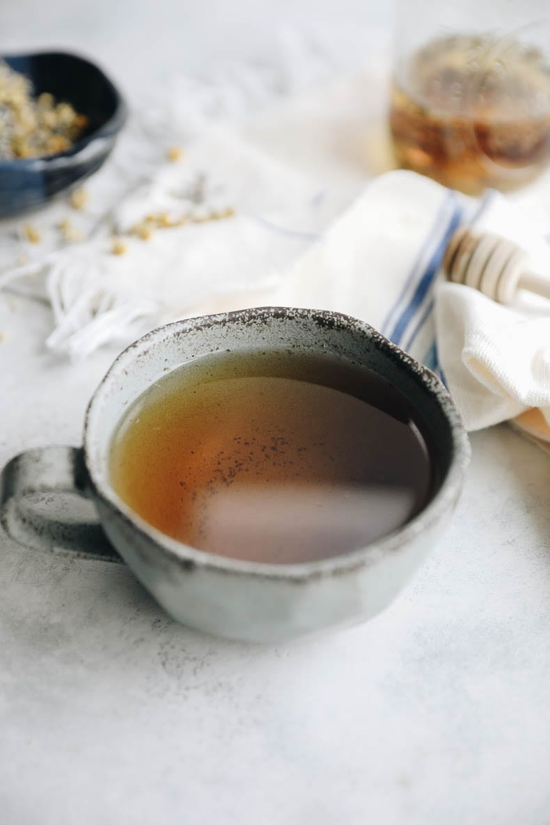 Homemade DIY Stress Relief Tea made from herbal ingredients to help support your body during times of stress