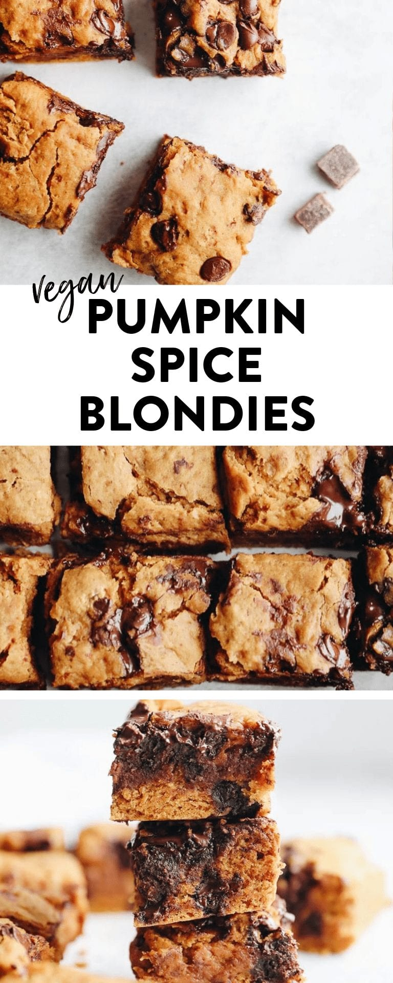 Get the best of fall baking with these pumpkin spice blondies! They're #healthy and #vegan and ready in under 30 minutes!