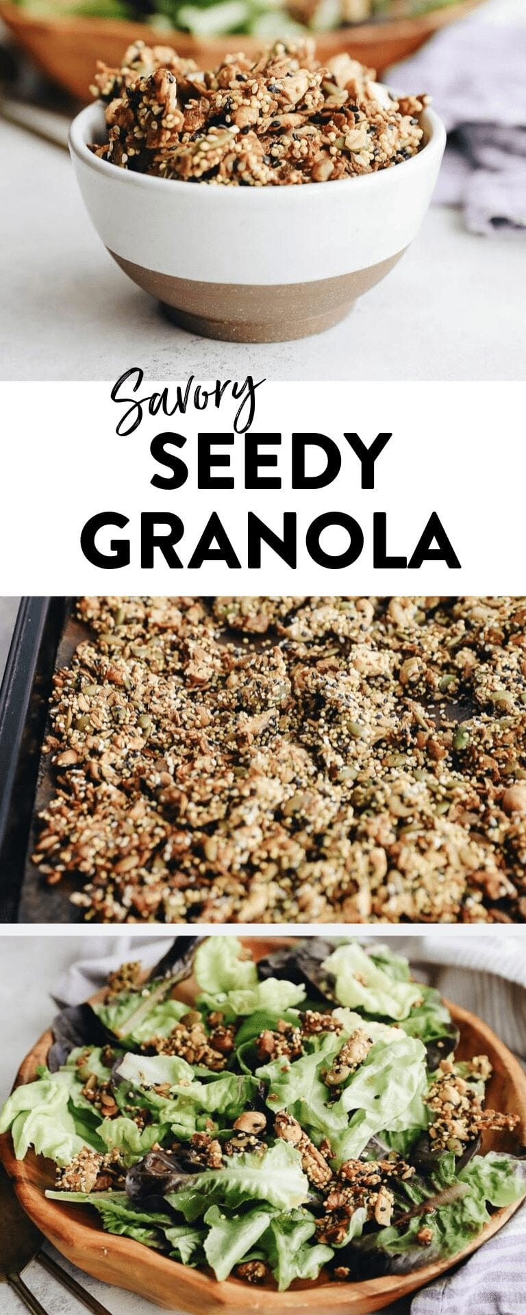 Who doesn't love a good granola recipe? And this healthy savory granola is no exception! It's packed-full of flavor and a great nutrition boost to every meal. Don't knock it till you try it! #savorygranola #granolarecipe
