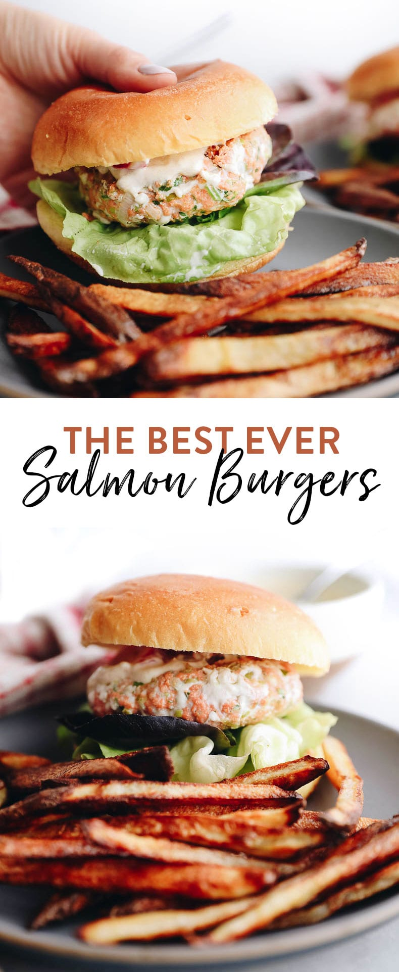 These fresh salmon burgers are surprisingly easy to make and you'll quickly discover with the tangy yogurt sauce that they are the best.salmon.burgers.ever! #30minutedinner