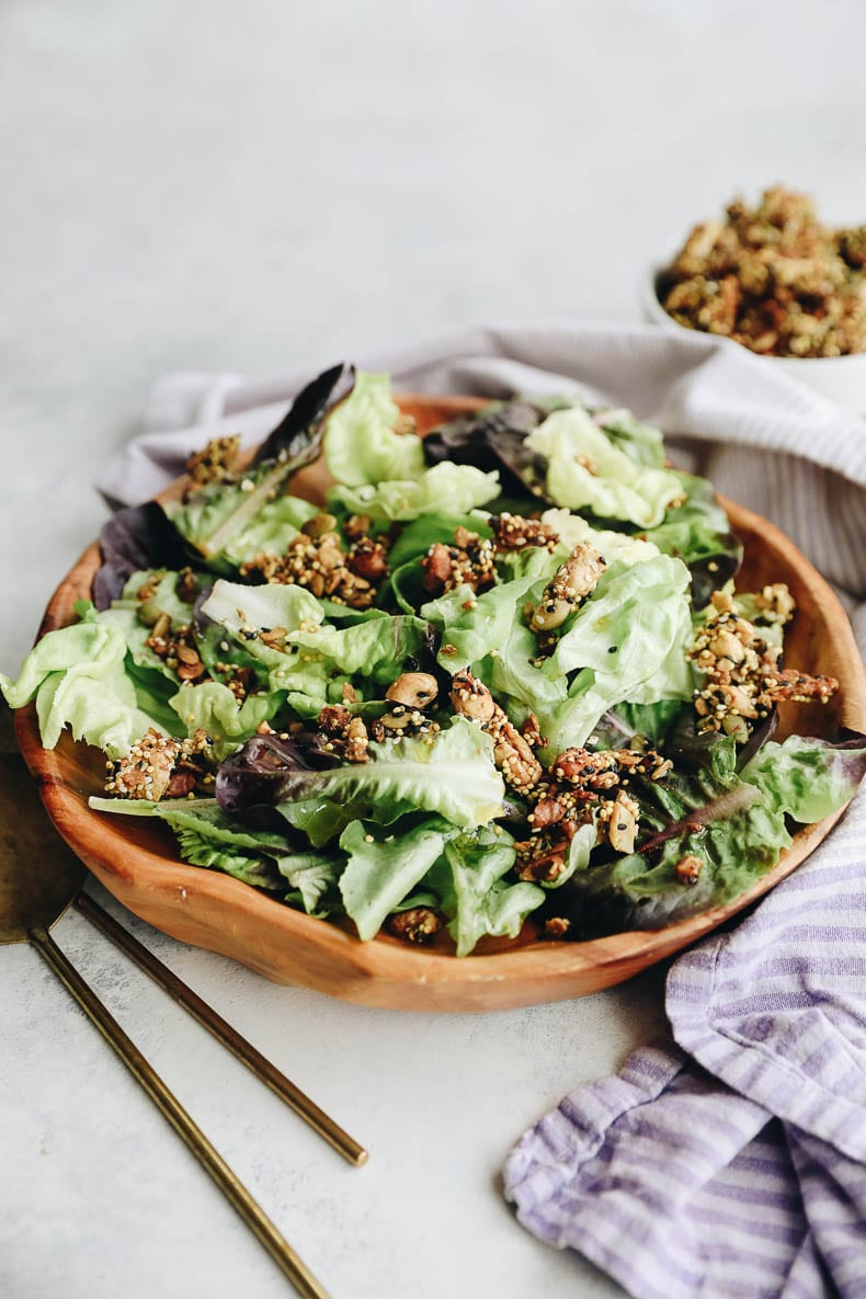 Savory Granola is the ultimate salad booster for flavoring and nutrition and comes together in under 30 minutes!