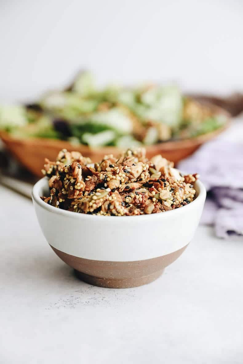 The ultimate savory granola made with a variety of seeds and savory spices to spice up your next yogurt bowl or salad