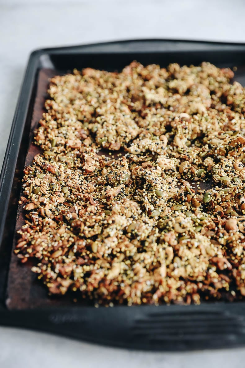 Have you ever tried savory granola? If not, start with this delicious recipe for seedy savory granola!