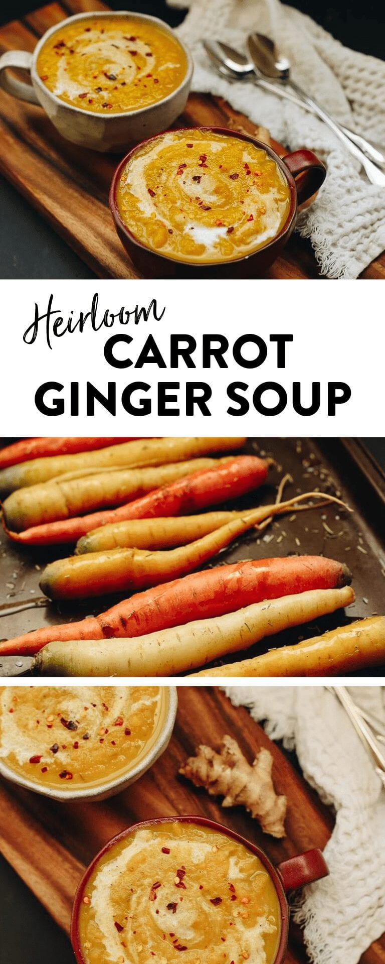 Roasted Heirloom Carrot Ginger Soup for a healthy vegan soup recipe and made extra creamy with coconut milk!