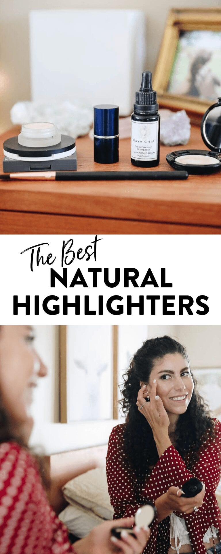 No makeup look is complete without highlighter! Find the best natural highlighters for you in this list of non-toxic, clean beauty highlighters #cleanbeauty