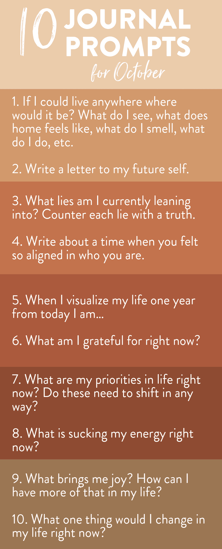 Kickstart your journal writing with these daily journal prompts for October! Seasonally inspired but year-round relevant this list will get you cracking open your journal and letting the thoughts pour out #journalprompts