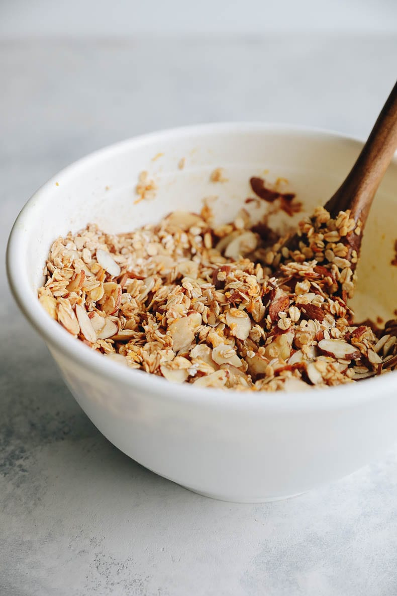 Mixing together this cranberry granola