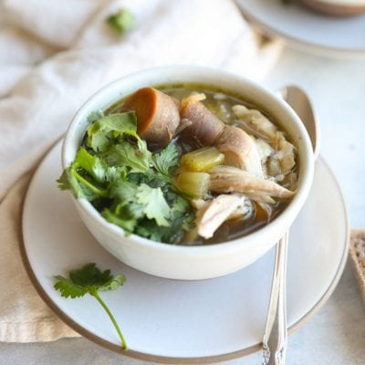 turkey soup made from turkey carcass