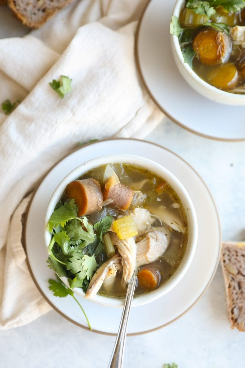 turkey carcass soup in bowls