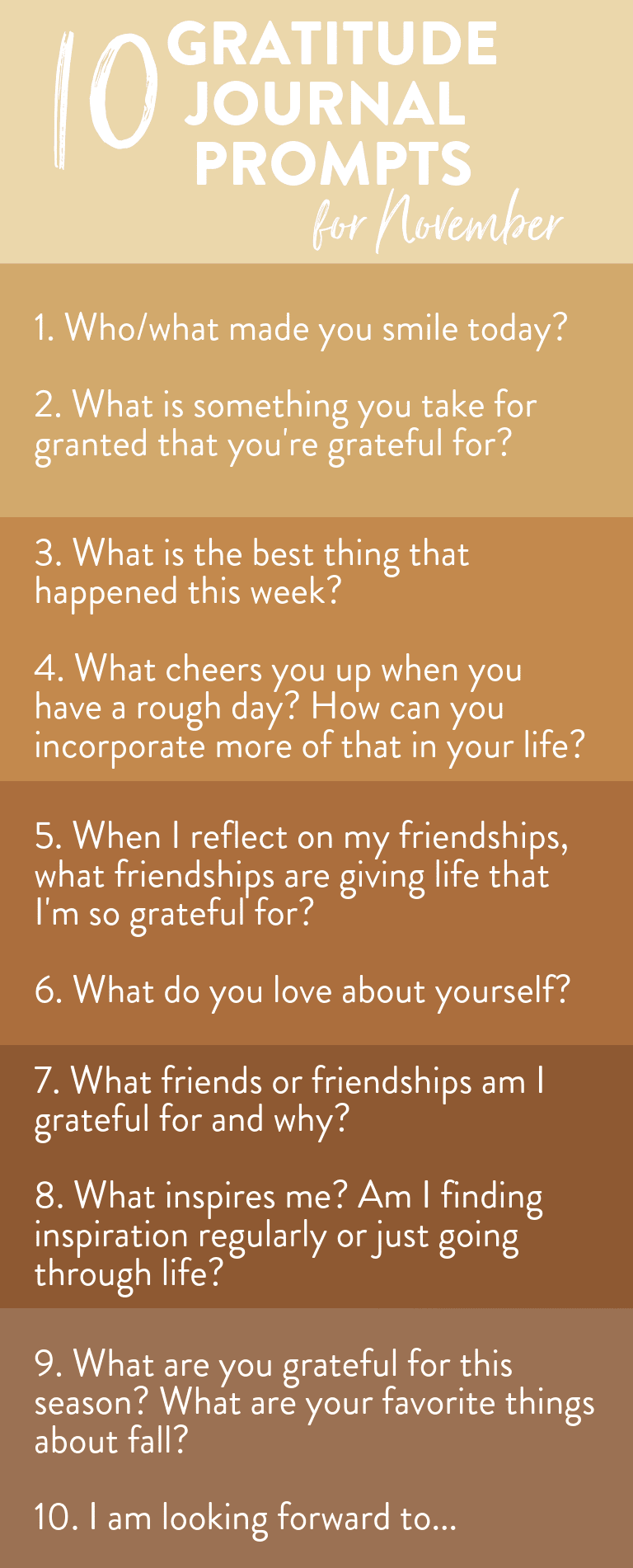Looking to start a gratitude journal? Here is a list of journal prompts for November to feel more grateful.