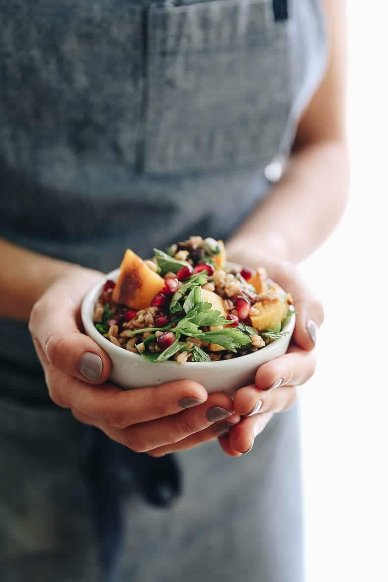 harvest farro salad for a healthy thanksgiving side