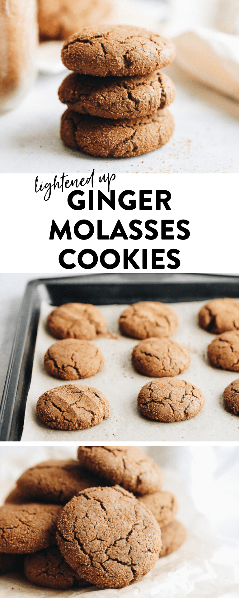 Healthier Ginger Molasses Cookies lightened-up with better for you ingredients!